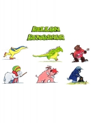 Set of laminated cut outs of the prints of the Dillon Dinosaur title and of the 6 main characters